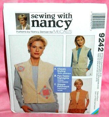 Uncut McCalls Misses Sz 8-22 Loose-Fitting Lined Vests Pattern 9242 Patchwork