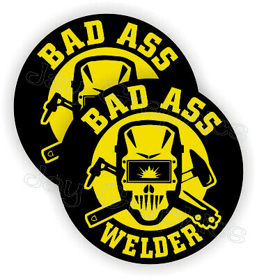 Pair Bad Ass Welder Funny Hard Hat Stickers Welding Helmet Decals Mig Tig Weld