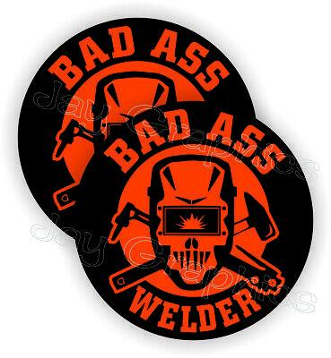2pk Bad Ass Welder Funny Hard Hat Stickers Welding Helmet Decals Mig Tig Weld
