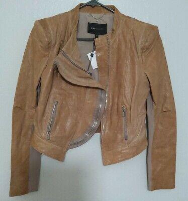 BCBG MAXAZRIA  Leather Jacket Size M Color Soychai