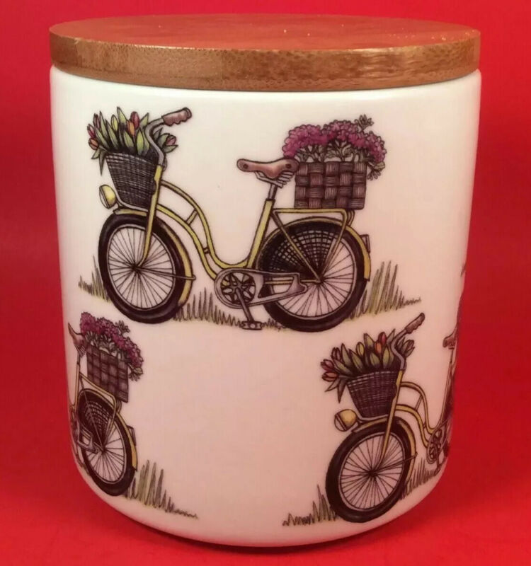 Kultakeramiikka Bicycle Canister With Wooden Lid - Made in Finland
