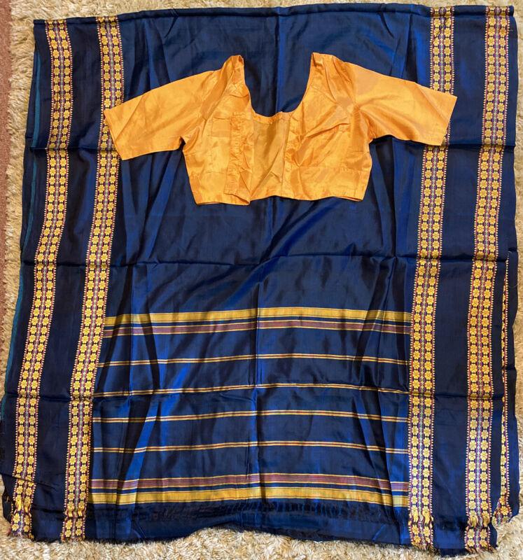"""Saree Sari 192"""" X 44"""" India Blue Gold Pink Green Plus Blouse Top"""