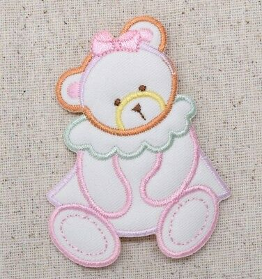 Teddy Bear Girl - Puffy/Pastel Childrens/Baby Iron on Applique/Embroidered Patch