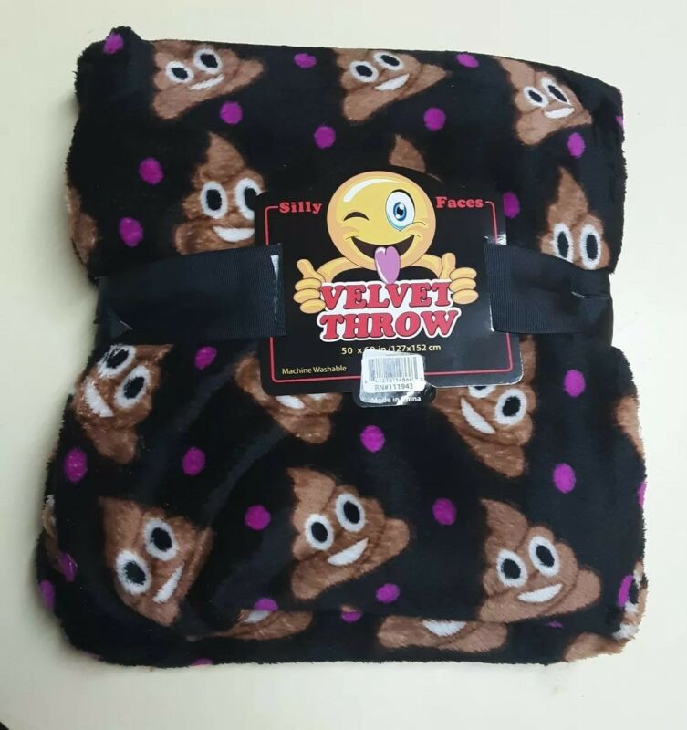 "Happy Smiley Poop Emoji Emoticon Poo Velvet Plush Fleece Throw Blanket 50""X60"""