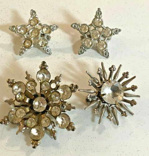 4 Vintage Silvertone rhinestone star and snowflake brooch pins
