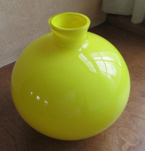 Vintage MCM Lemon Yellow Cased Hooped Glass Bulbous Ball Vase Czech? Friedrich?