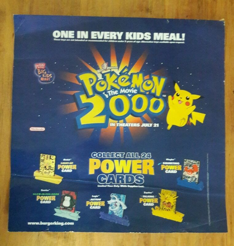 "Burger King Pokemon 2000 Promo Poster Advertisement Sign 20 x 20"""