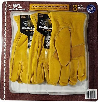 Wells Lamont Premium Cowhide Leather Work Gloves 3 Pair Pack - Medium **NEW**