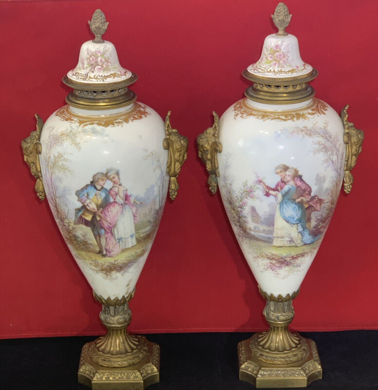 """Pair Antique French Sevres Urns Romantic 17"""" Tall"""