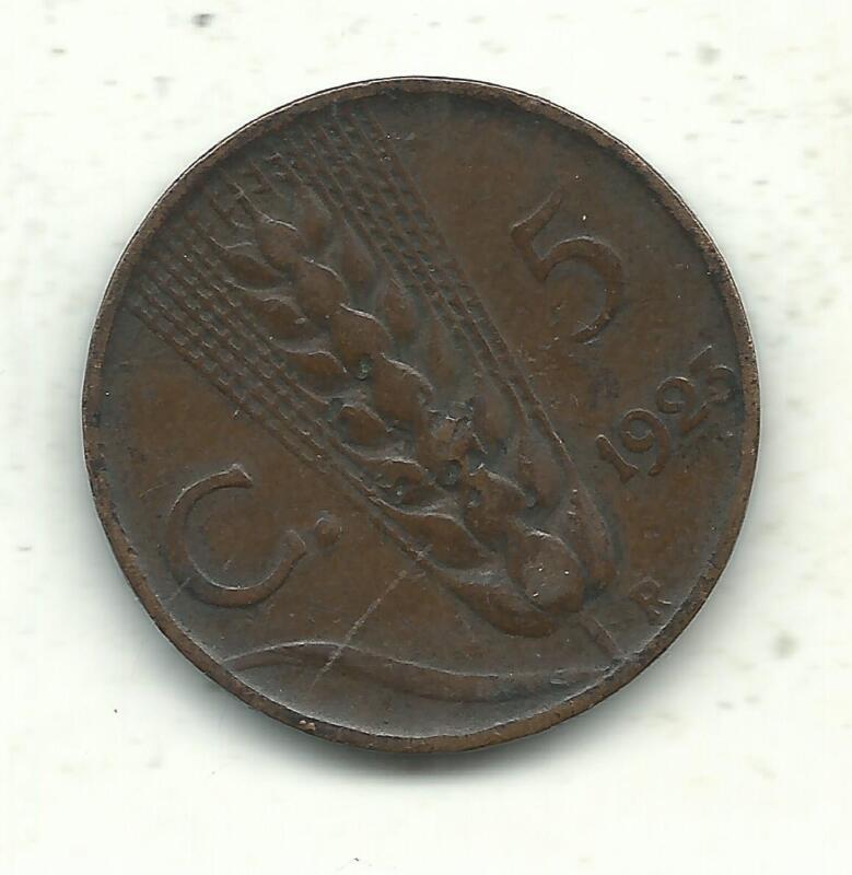 VINTAGE VERY NICE BETTER GRADE 1923 R ITALY 5 CENTESIMI COIN-JUL012