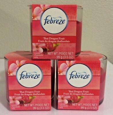 (3) FEBREZE THAI DRAGON FRUIT GLASS CANDLE, 3.5 OZ. DISCONTINUED ( RARE)