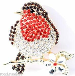 Brooch Robin Red Breast Rhinestone crystal like vibrant brooch pin BR50850