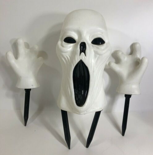 VINTAGE BLOW MOLD GHOST HEAD & Hands The Paper Magic Group Rare Halloween Decor