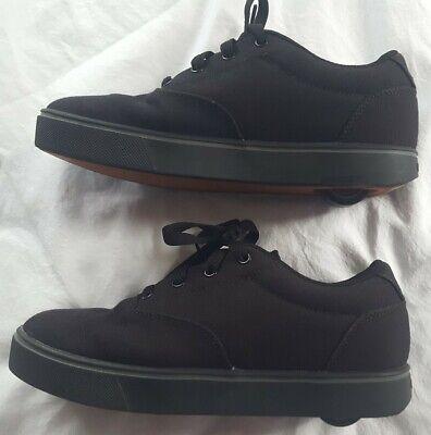 HEELYS Launch MEN'S Black Shoes Size 7 Canvas W/ Wheels , Bearings Excellent!