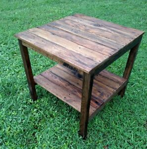 End Table   Handmade Reclaimed Pallet Wood  Upcycled   Vintage, Rustic Look