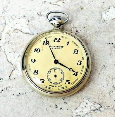 Molnija Serkisof Demiryolu Pocket Watch 1980s Open Face Men's 18 Jewels USSR