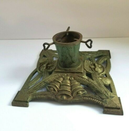 Antique/Vintage Ornate Cast Iron German Christmas Tree Stand Holiday Bell Candle