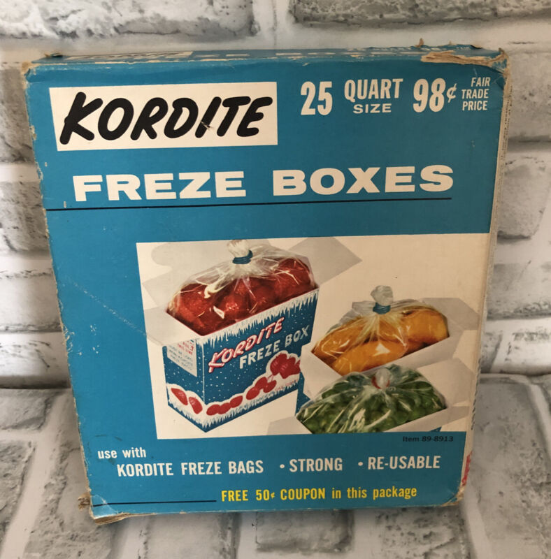 Vintage Kordite Quart Size Freeze Boxes 25 Ct New In Original Packaging