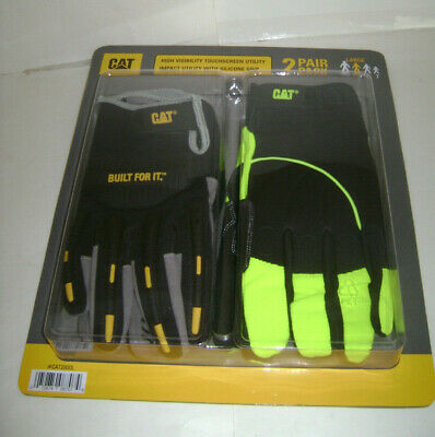 Cat Brand High Visibility Utility Gloves Wsilicone Grip 2 Pair Pack - Large