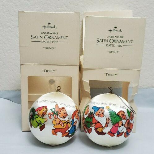 Lot 2 Hallmark Keepsake Disney Seven Dwarfs Ornaments 1982 Unbreakable Christmas