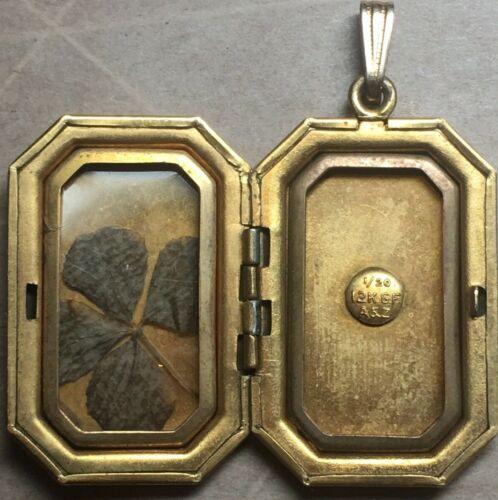 Vintage St Patricks Gold Filled Four Leaf Clover Locket