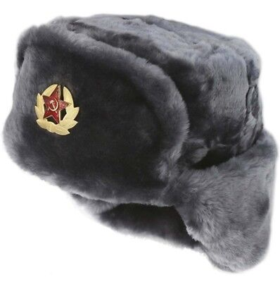 Russian Winter Hat Ushanka Soviet Army Trapper Military | GRAY + PIN | SIZE 64