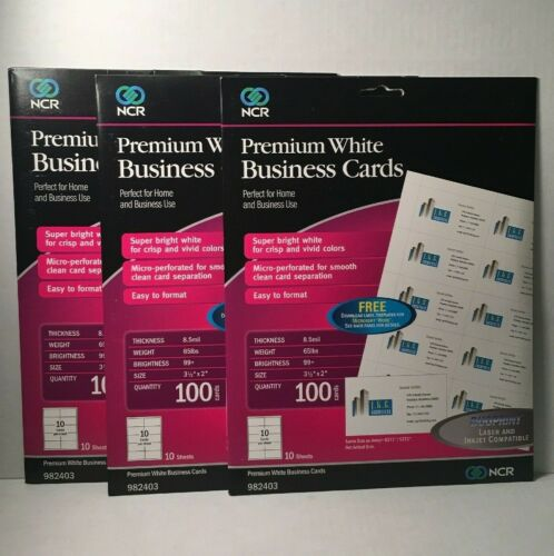 """Lot of 3 Packs Premium White Business Cards 3.5x2"""" 100 per pack Laser and Inkjet"""