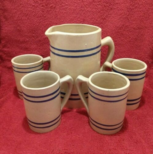Vintage Buckeye root beer pottery pitcher & 4 mugs set