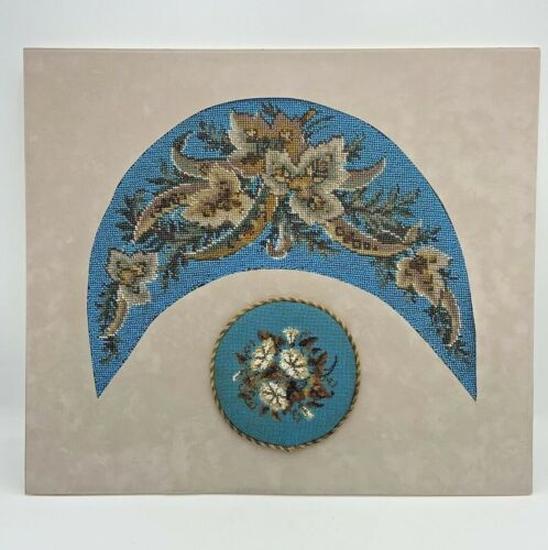 Antique VICTORIAN BEADWORK Needlepoint PANEL & Round CUSHION Floral BEAUTIFUL