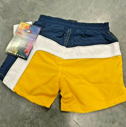 NOS Vintage 90s Retro Yellow Color Block Boys Toddler Shorts Beach Surfer 3T