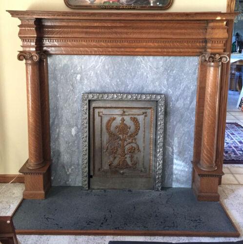 Antique quarter sawn oak fireplace surround mantle columns iron summer cover