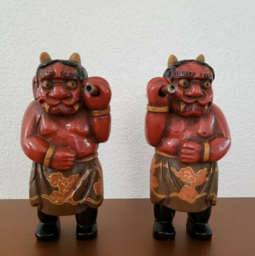 Vintage Japanese Lacquer Carved Oni Demons Pair