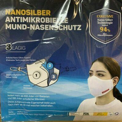 2x Nanosilber Schutzmaske 3lagig Waschbar Antimikrobiell Antiviral Mundschutz