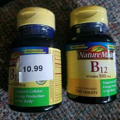 Nature Made B12 Vitamin 500mcg 100 Tablets Dietary Supplement (2pk)  Exp: 04/20 ()