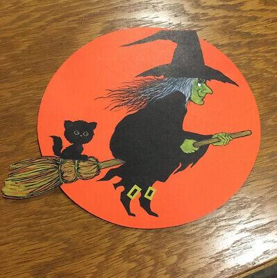 Vintage Halloween Decoration Hallmark Die Cut Witch & Cat