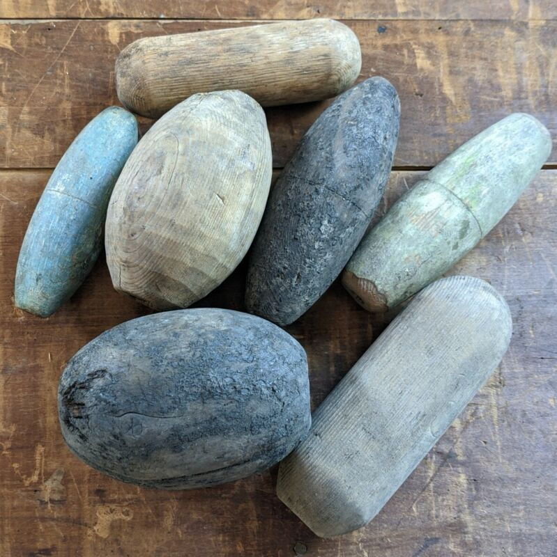 LOT OF 7 ANTIQUE WOOD FISHING FLOATS BUOYS MARITIME NAUTICAL - GREAT VARIETY!