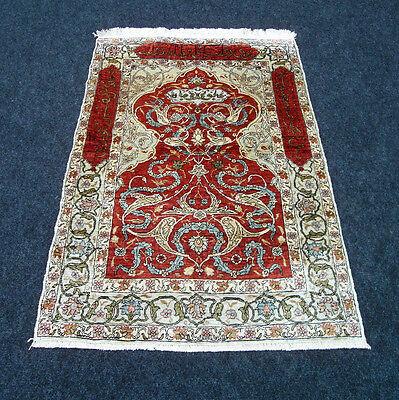 Seidenteppich Hereke Seide 74 x 51 cm Türkischer Orient Teppich Turkish Silk Rug