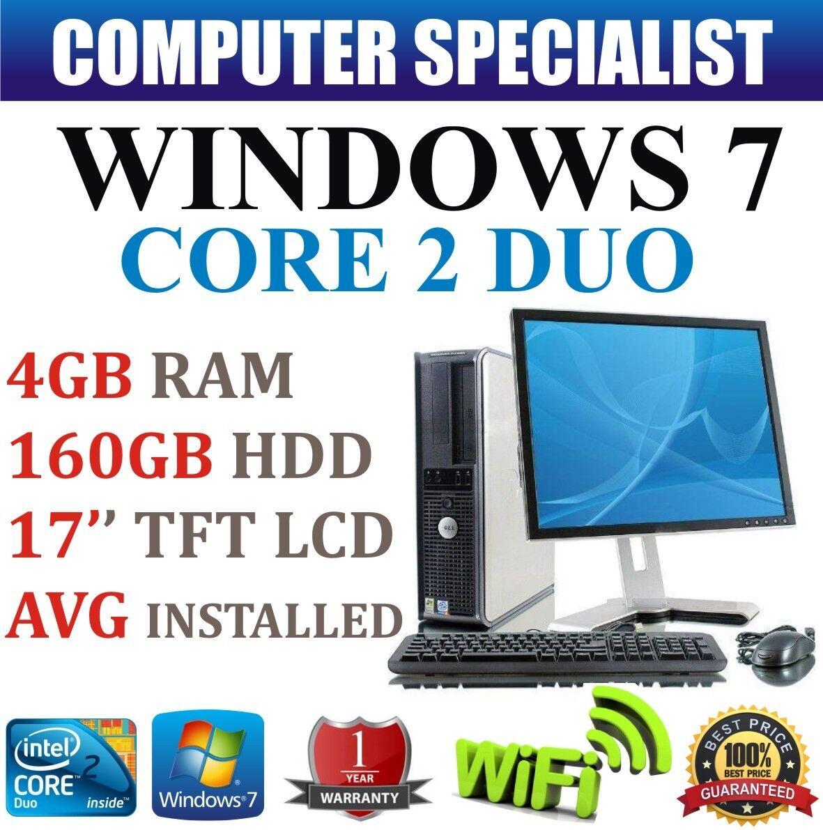 WINDOWS 7 COMPLETO DELL DESKTOP TOWER PC Set COMPUTER veloce sistema & 17'' TFT