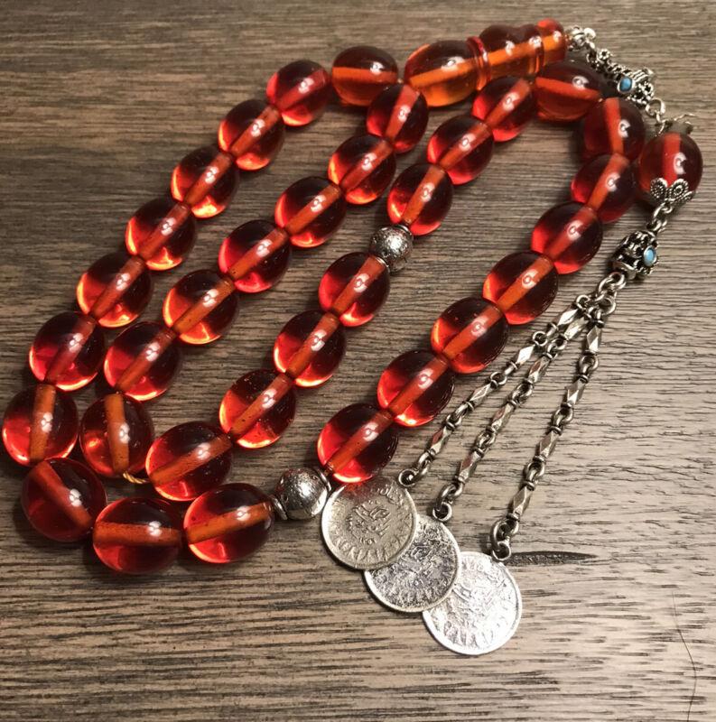 New Collectible Turkish Sandalos Amber Rosary 33 Beads سبحة مسباح سندلوس