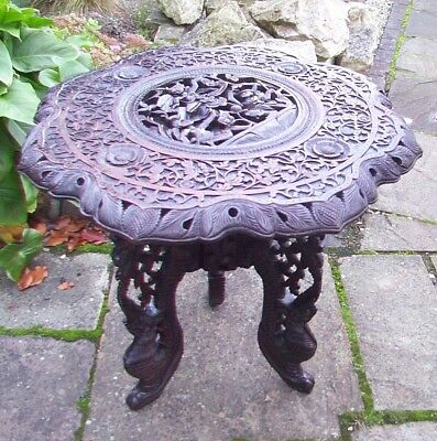 LARGE ANTIQUE BEAUTIFULLY CARVED  S.E.ASIAN  SIDE TABLE