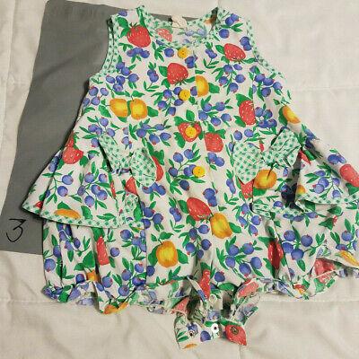 Girls One Piece, Bodysuit, Fruit, Tropical, Summer, Button Crotch, Sz 24 Mos - 3 Girls One Piece Bodysuit