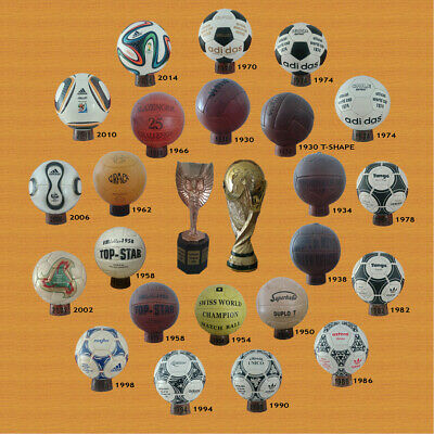 WORLD CUP BALLS 1930-2014 (23 BALLS + 23 STANDS. WORLD CUP TROPHIES PRE ADIDAS
