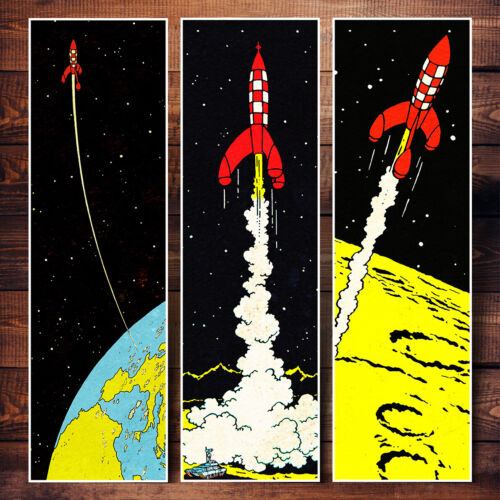 MOON+ROCKET+TINTIN+ADVENTURES+12x40+INCHES+COLORFUL+RARE+COMIC+POSTERS+SET