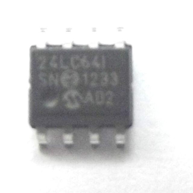 24LC64-I/SN marked 24LC64I SN EEPROM 8Kx8  Serial-I2C 64K-bit 3.3V/5V SOP-8