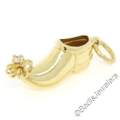 Vintage 14k Gelbgold .04ct Rund Diamant Glück Elfe Genie Schuh Charm Anhänger ()