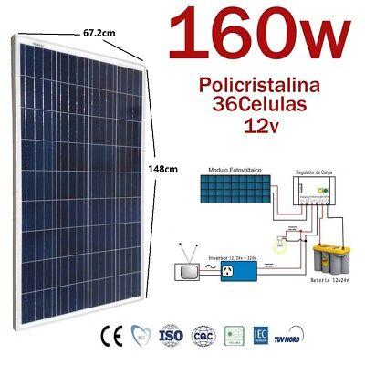 Placa solar 12v 160w Fotovoltaico Polycrystalline Europea