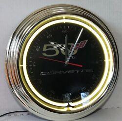 50th Anniversary Corvette Neon Wall Clock