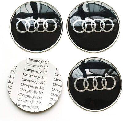for 4x 65MM AUDI BLACK WHEEL CENTER CAP DECAL STICKER A4 A5 A6 A7 A8 TT S4 S5 S6