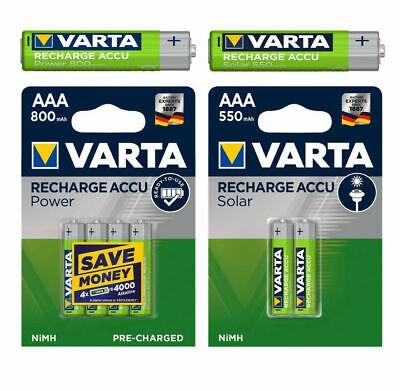 Varta Power Akkus Accus AAA Micro 550mAh / 800mAh aufladb. Batterien f. Telefon