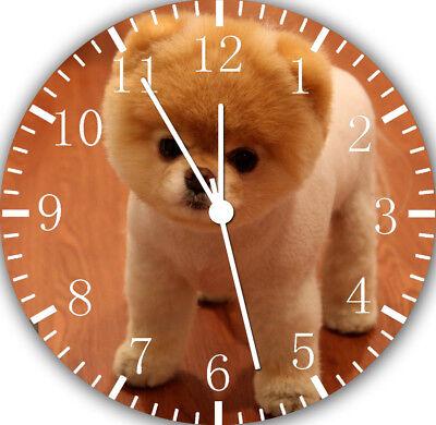 Cute Pomeranian Dog Borderless Wall Clock Nice For Decor or Gifts F10 (Pomeranian Wall Clock)